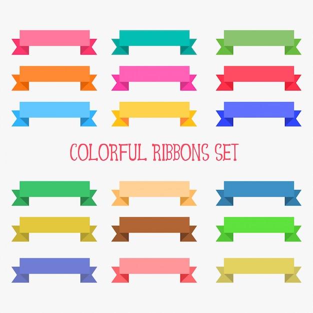 Ensemble de rubans colorés plats Vecteur gratuit