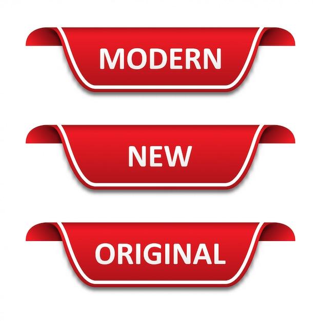 Ensemble de rubans étiquettes. moderne, nouveau, original Vecteur Premium