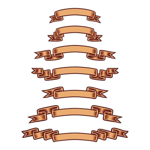 Ensemble de rubans, ligne tracée à la main avec la couleur numérique Vecteur Premium