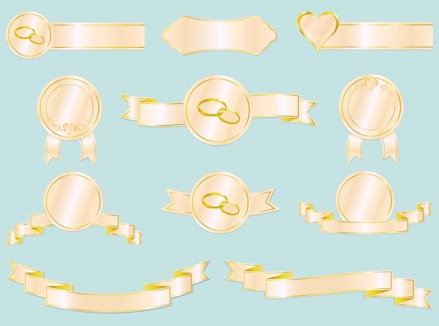 Ensemble De Rubans De Mariage Et D'amour, Insignes Et étiquettes. Vecteur Premium
