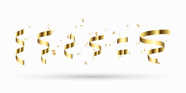Ensemble De Rubans D'or. Décoration Pour Le Nouvel An Vecteur Premium