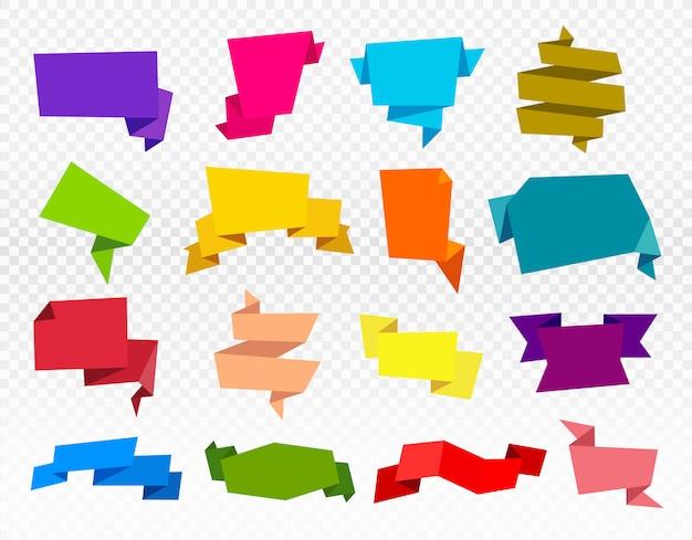 Ensemble de rubans de papier. ruban d'origami isolé Vecteur Premium