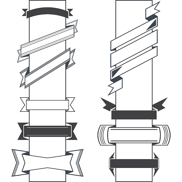 Ensemble de rubans rétro de vector design noir et bannières de style vintage Vecteur Premium