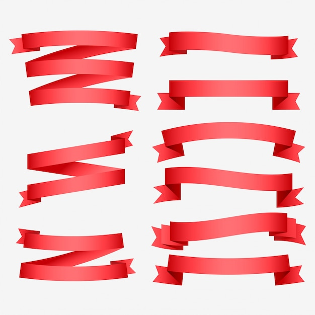 Ensemble de rubans rouges brillants Vecteur gratuit