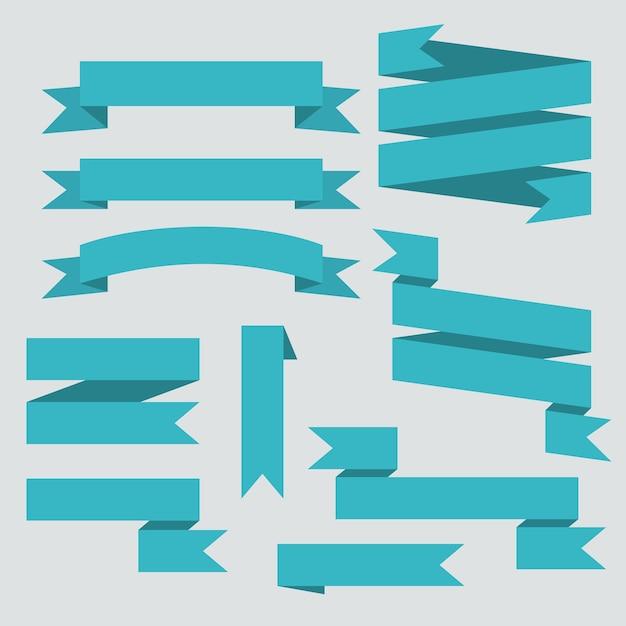 Ensemble De Rubans De Vecteur Bleu Isolé Vecteur gratuit