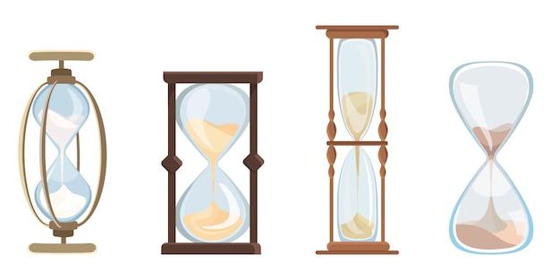 Ensemble De Sablier Vintage. Horloge Avec Sable Qui Coule En Style Cartoon. Vecteur Premium