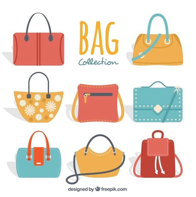 Ensemble de sacs à main de femme coloré Vecteur gratuit
