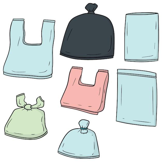 Ensemble de sacs en plastique Vecteur Premium