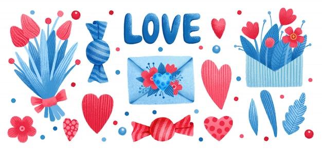 Ensemble Saint Valentin, Fleurs Bonbon, Coeur D'amour, Feuille D'arbre Vecteur Premium