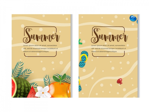 Ensemble de la saison d'été avec la conception de flyer illustration fruits et plage Vecteur Premium