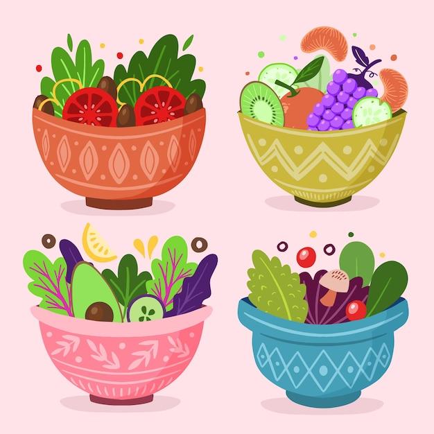 Ensemble De Salade De Fruits Dans Des Bols Vecteur gratuit