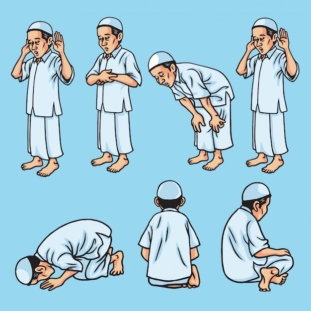 Ensemble de salah, sholat, shalat, mouvement de prière musulmane, illustration Vecteur Premium
