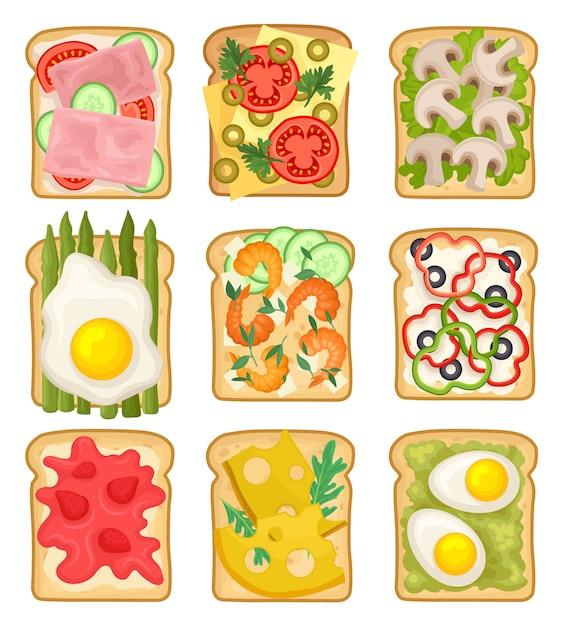 Ensemble De Sandwichs Avec Différents Ingrédients. Tranches De Pain Grillé Avec Jambon, Fraise, Légumes, œufs Au Plat Et Frits Vecteur Premium