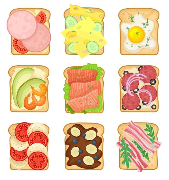 Ensemble De Sandwichs Avec Différents Ingrédients. Tranches De Pain Grillé Avec Saucisse, œuf Au Plat, Salami, Légumes Et Bacon Vecteur Premium