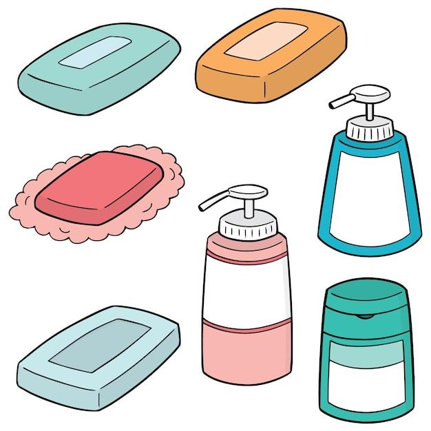 Ensemble de savon Vecteur Premium