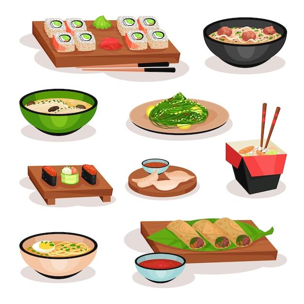 Ensemble De Savoureux Plats Asiatiques. Sushi, Soupes, Rouleaux De Printemps, Boulettes Bouillies Et Nouilles. Plats Orientaux Vecteur Premium