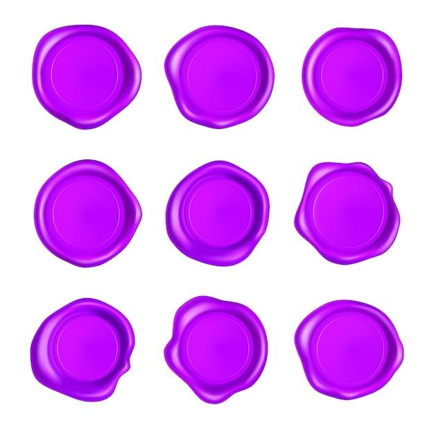 Ensemble De Sceau De Cire Violet. Jeu De Timbres De Sceau De Cire Isolé. Timbres Violets Garantis Réalistes. Vecteur Premium