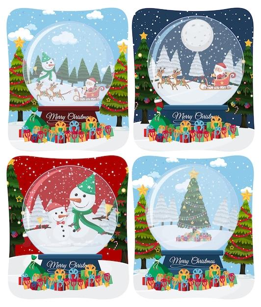 Ensemble De Scène De Joyeux Noël Avec Le Père Noël Dans La Neige Vecteur Premium