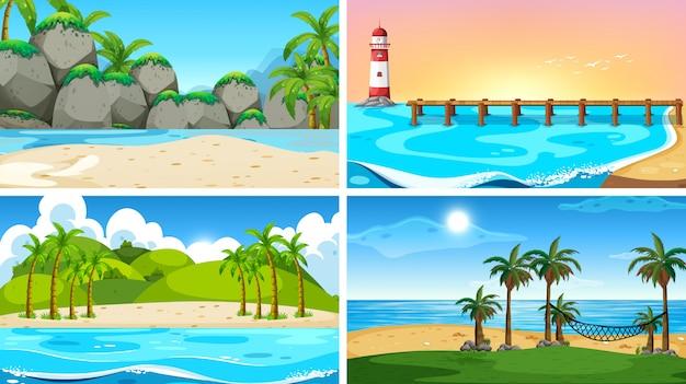 Ensemble de scène nature océan tropical ou arrière-plans avec plages Vecteur gratuit