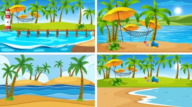 Ensemble de scène de la nature de l'océan tropical ou fond avec plages Vecteur gratuit