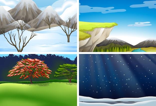 Ensemble de scène de paysage nature Vecteur gratuit