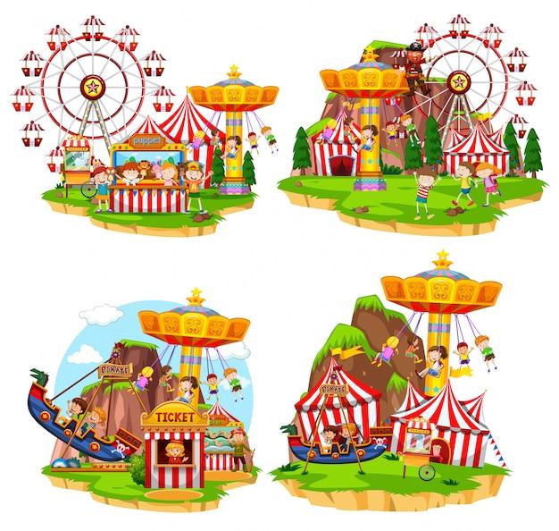 Ensemble de scènes de carnaval Vecteur Premium