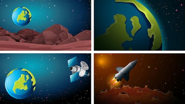 Ensemble de scènes de l'espace terrestre Vecteur gratuit