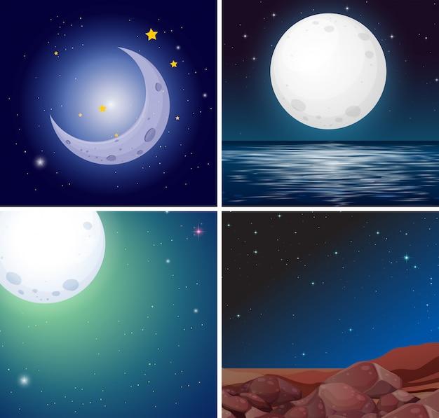 Ensemble de scènes de lune de nuit Vecteur Premium