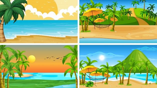 Ensemble de scènes de la nature de l'océan tropical ou de fond avec des plages Vecteur gratuit