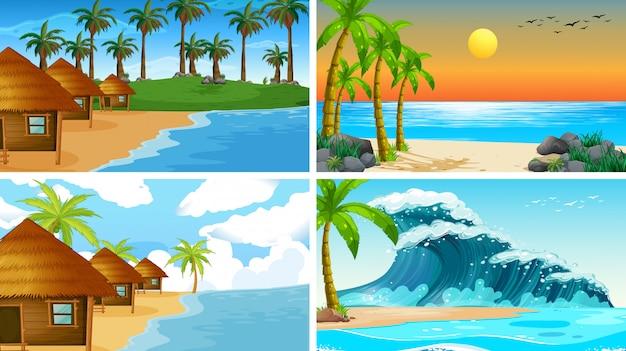 Ensemble de scènes de nature de l'océan tropical avec des plages Vecteur gratuit