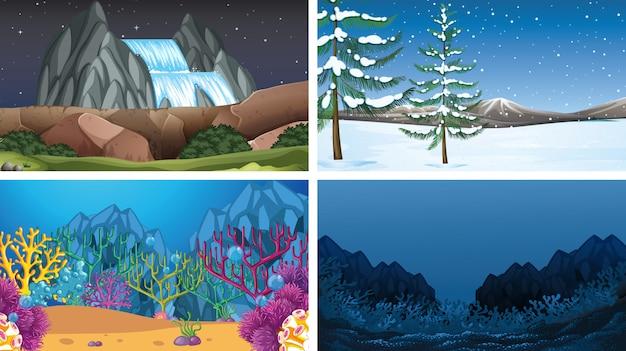 Ensemble de scènes de nature en plein air ou fond vide vide s Vecteur gratuit
