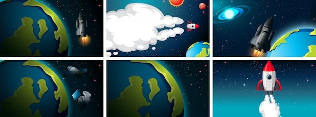 Ensemble de scènes de terre et de fusée Vecteur gratuit
