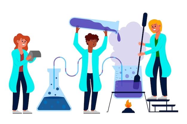 Ensemble De Scientifiques Travaillant En Laboratoire Vecteur gratuit