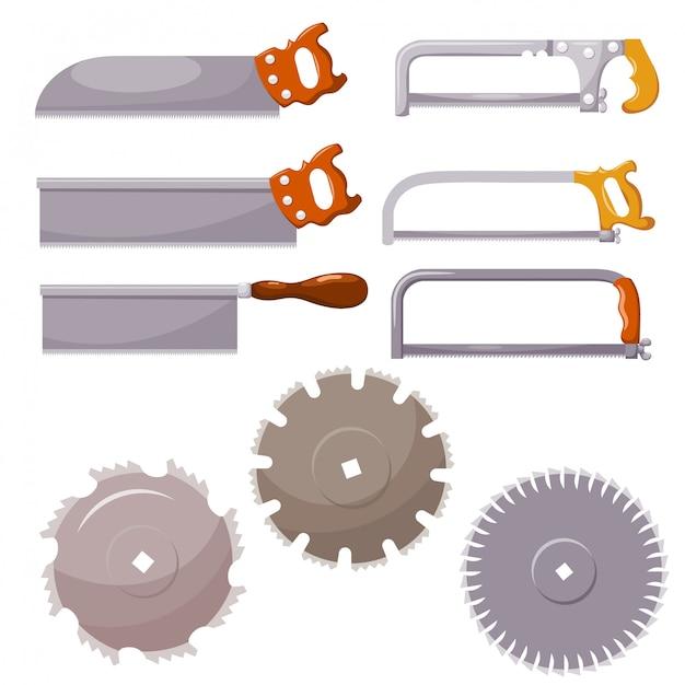 Ensemble de scies à métaux sur blanc Vecteur Premium