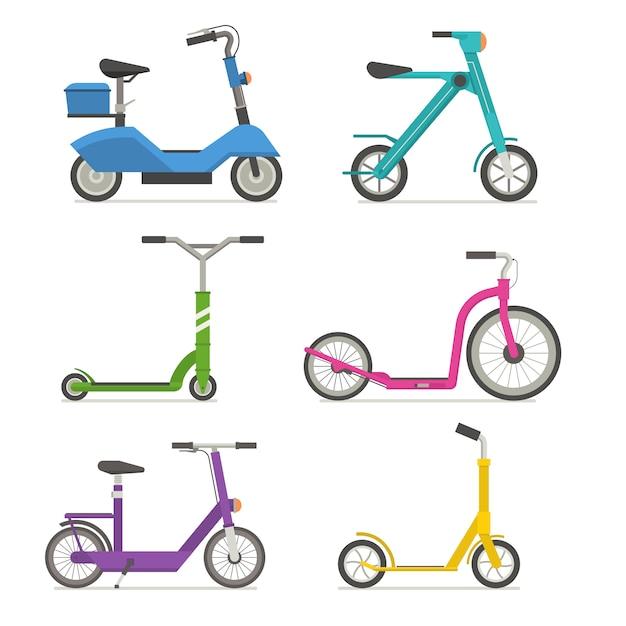Ensemble De Scooter à Roulettes. Vélo D'équilibre. Différents Scooters éco Transport Urbain Alternatif. Vecteur Premium