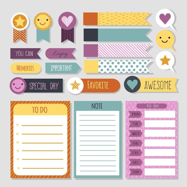 Ensemble De Scrapbooking De Planificateur De Visages De Smiley Vecteur Premium