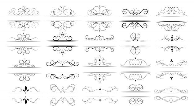 Ensemble De Séparateurs Calligraphiques Vecteur gratuit
