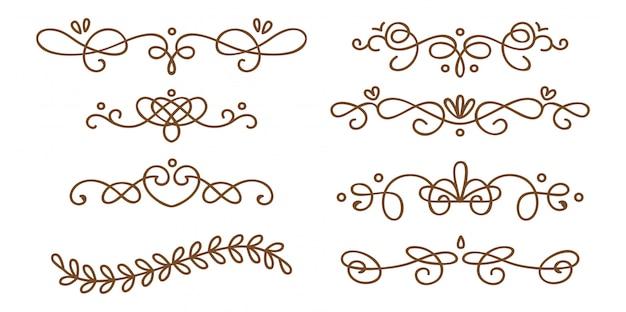 Ensemble de séparateurs décoratifs swirly Vecteur Premium