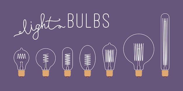 Ensemble de sept ampoules rétro non éclairées Vecteur Premium