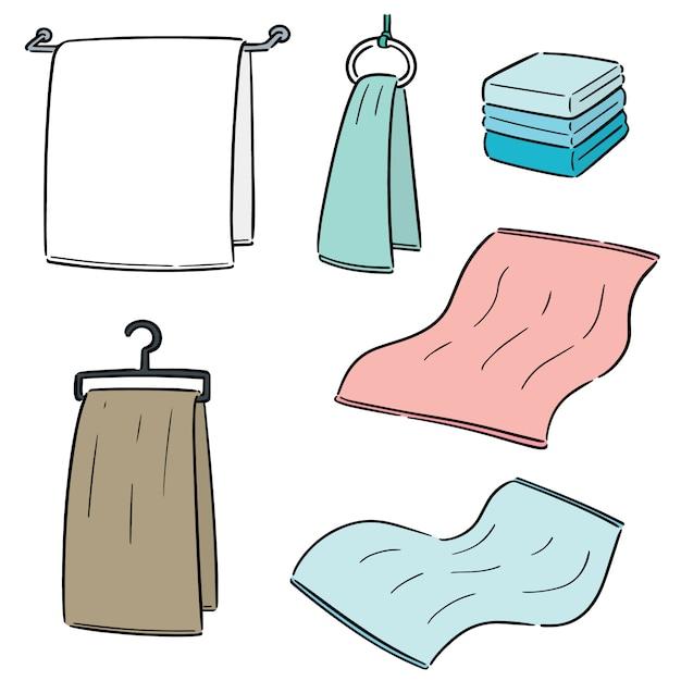 Ensemble de serviettes Vecteur Premium