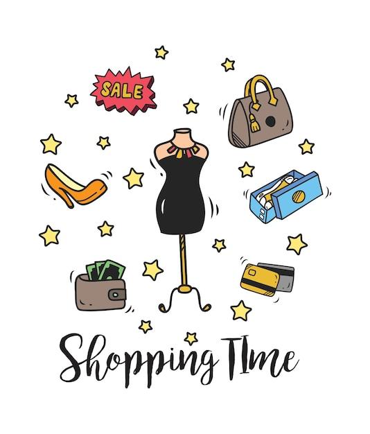 Ensemble de shopping doodle Vecteur Premium