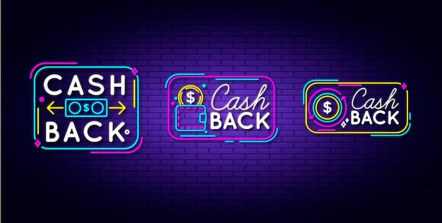 Ensemble De Signe De Cashback Au Néon Vecteur Premium