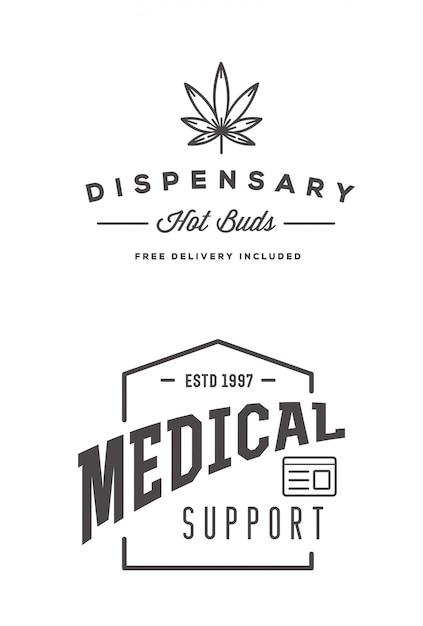 Ensemble De Signe Ou De Modèle D'étiquette De Cannabis Médical Marijuana Dans Peut être Utilisé Comme Logotype. Vecteur Premium