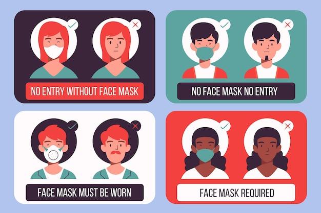 Ensemble De Signes Sur Le Port De Masques Médicaux Vecteur gratuit