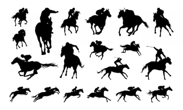 Ensemble de silhouette illustration jockey Vecteur Premium