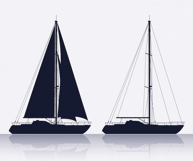 Ensemble de silhouette de yachts de luxe Vecteur Premium