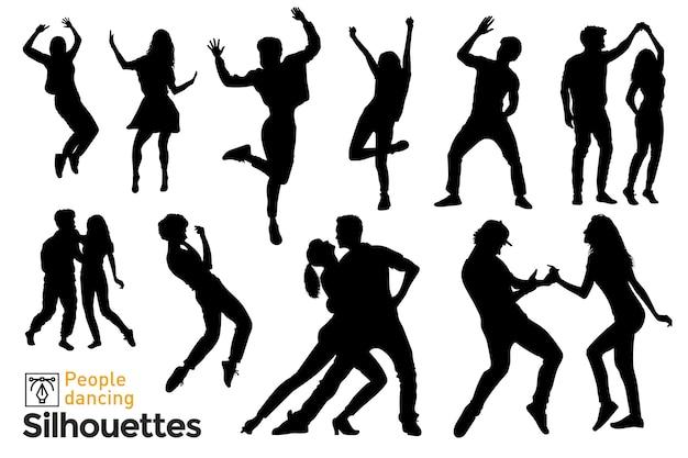 Ensemble De Silhouettes Isolées De Gens Qui Dansent Et S'amusent à écouter De La Musique. Vecteur Premium