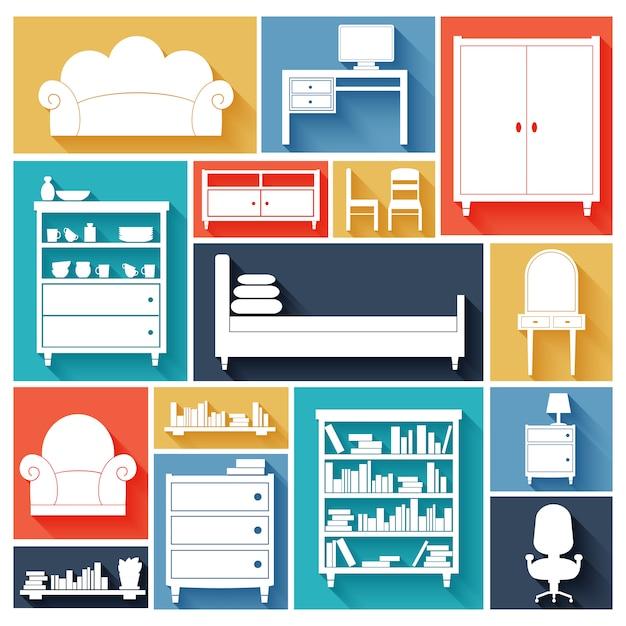 Ensemble de silhouettes de meubles Vecteur gratuit