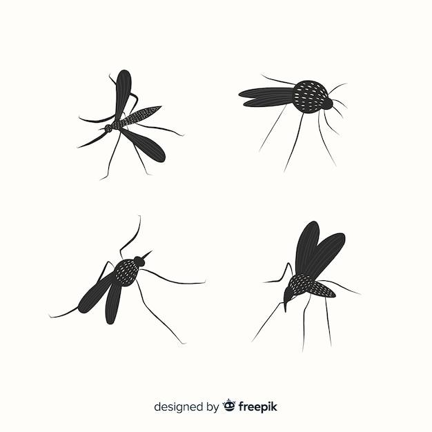 Ensemble De Silhouettes De Moustiques Dans Un Style Plat Vecteur gratuit