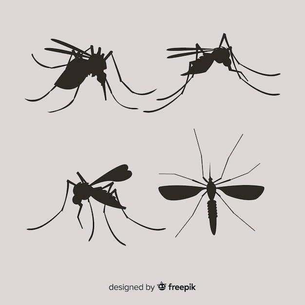 Ensemble De Silhouettes De Moustiques Vecteur gratuit